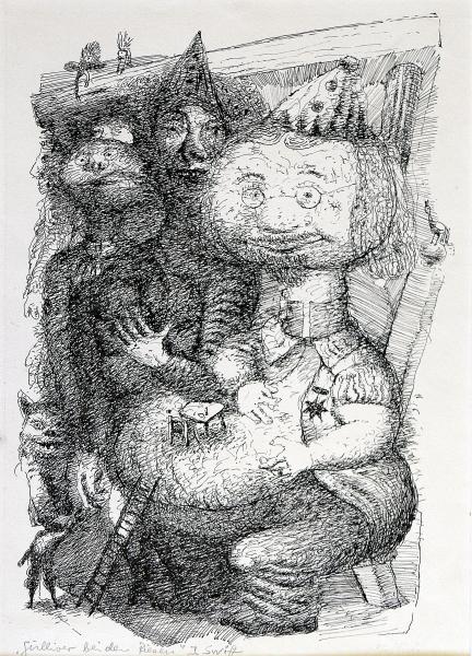 Gulliver wird vom König zu Tisch geladen
