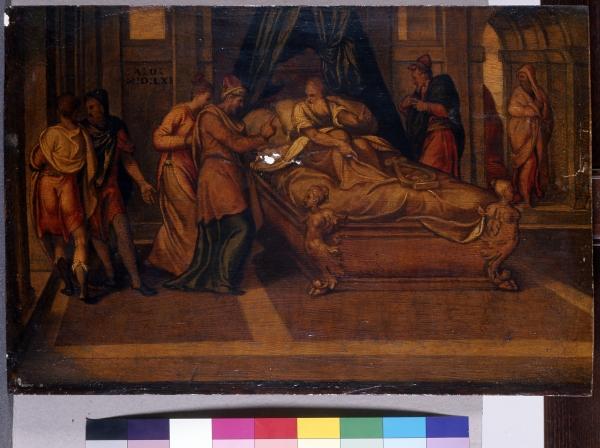 Szene aus der Geschichte Davids (Abischag wird David zugeführt)