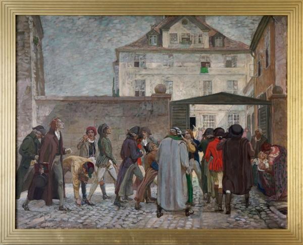 M 80_Schiller auf dem Wege zu seiner Antrittsvorlesung in das Griesbachhaus am 26. Mai 1789