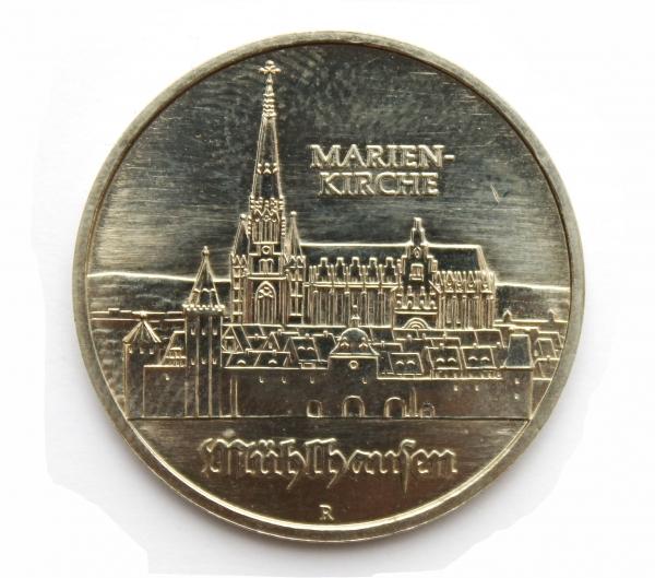 Me 445_5-Mark-Stück Marienkirche Mühlhausen zur Thomas-Müntzer-Ehrung
