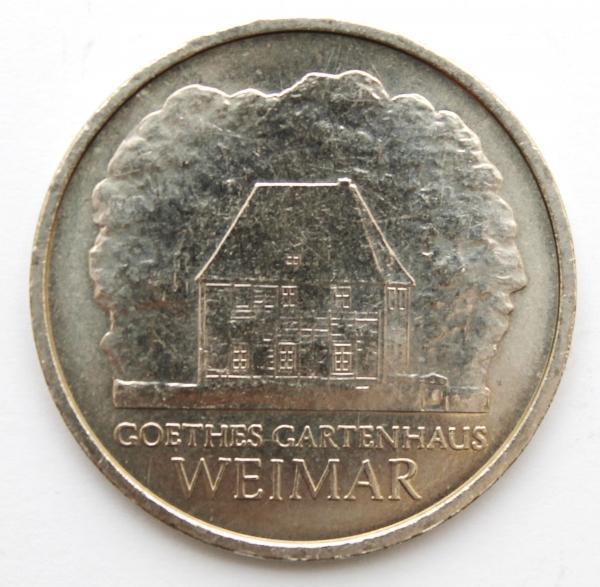 Me 169_ 5-Mark-Stück Goethes Gartenhaus - anlässlich des 150. Todestages von Johann Wolfgang von Goethe