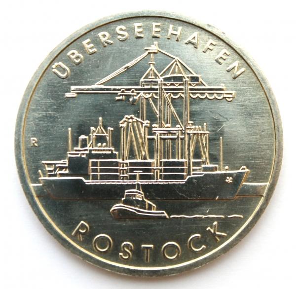 Me 405_5-Mark-Stück anlässlich 30 Jahre Überseehafen Rostock