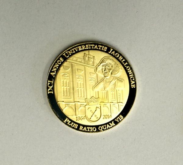 Goldene Münze zum 650. Jubiläum der Jagiellonian University Kraków
