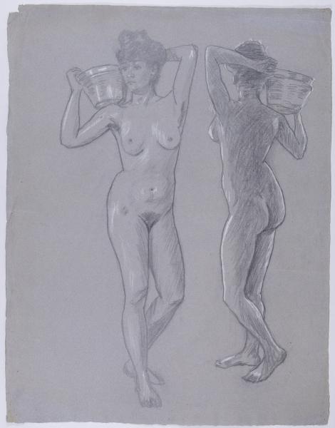 Aktstudie einer Frau mit Korb aus zwei Perspektiven