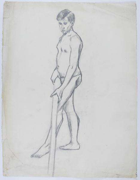 Aktstudie eines Mannes mit Stange
