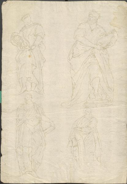 Vier Skizzen: antike Männer-Darstellungen