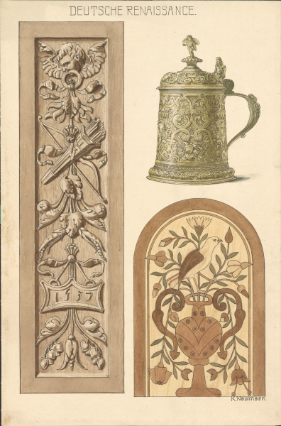 Ornamentik und Krug der Deutschen Renaissance