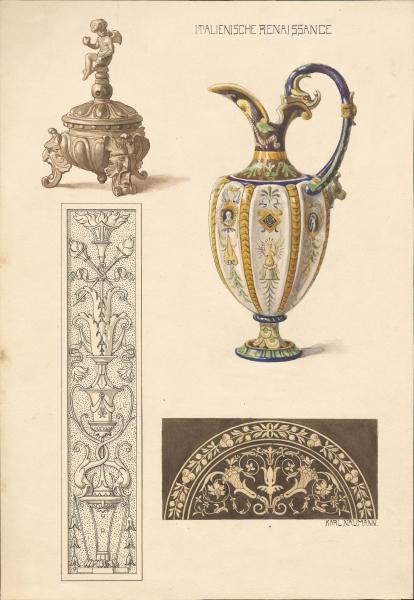 Ornamentik und Karaffe der Italienischen Renaissance