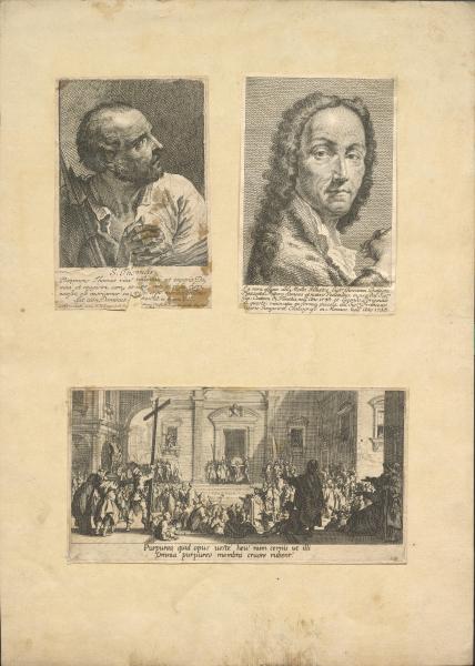 Zwei Porträts und eine Darstellung der Passionsgeschichte (Bl. 5 von 7 der