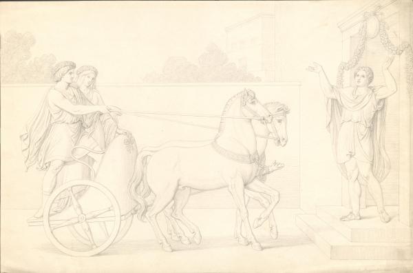 Hochzeitspaar im Pferdegespann