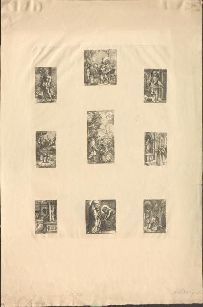 Tableau mit 9 kleinformatigen Kupferstichen
