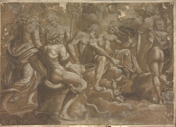 Antikisiierte Gruppe mit Hund und Schlange