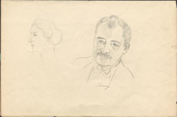 Vier skizzenhafte Porträts