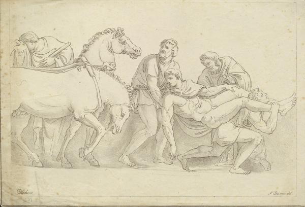 Lithografie einer Zeichnung Caravaggios