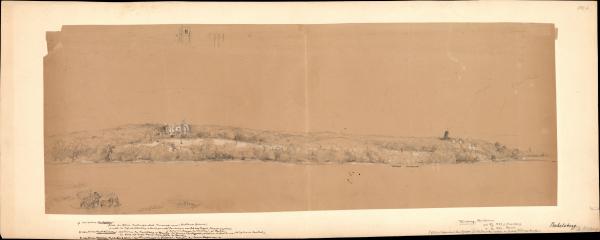 Blick auf das Barbelsberger Schloss und eine Windmühle