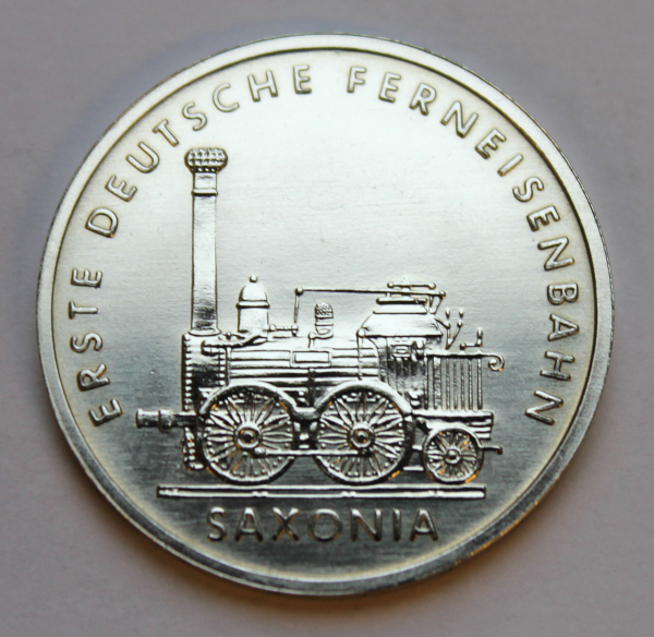 5-Mark-Stück auf 150 Jahre Deutsche Eisenbahn - Ferneisenbahn