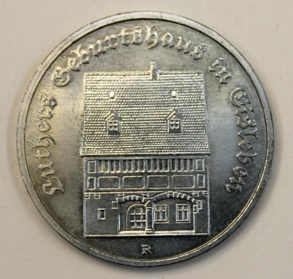 5-Mark-Stück Luthers Geburtshaus in Eisleben