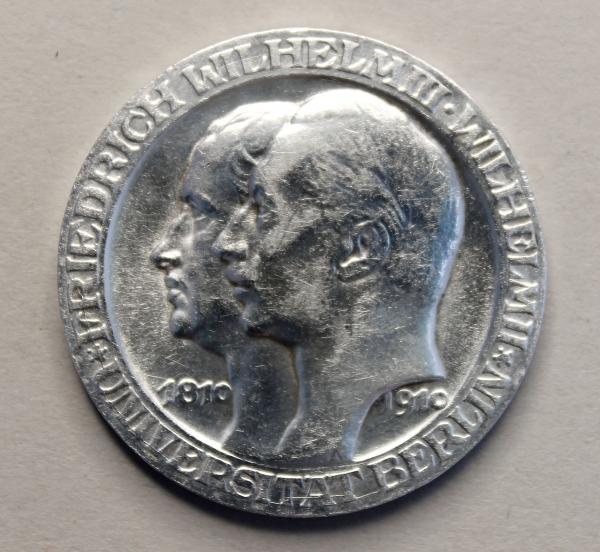 3-Mark-Stück anlässlich der 100-Jahrfeier der Universität Berlin
