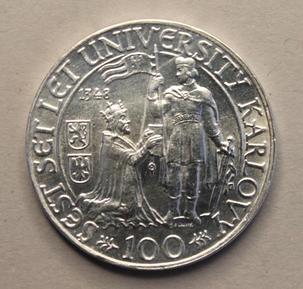 100-Kronen-Stück anlässlich der 600-Jahrfeier der Universität Prag