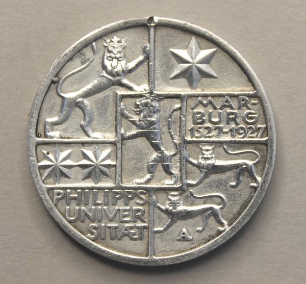 3-Mark-Stück anlässlich der 400-Jahrfeier der Universität Marburg