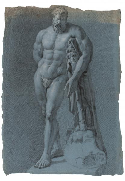 männlicher stehender Akt, ganzfigurig von vorn, Vollbart und kräftiger Körperbau, den Kopf gesenkt, das Hochzeitsgeschenk mit einem Blatt bedeckt, den linken Arm über eine Keule/Baum gelegt, der rechte Arm liegt auf dem Rücken