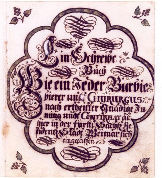 Einschreibebuch der Weimarer Barbiere und Chirurgen 1669-1841, Blatt 3